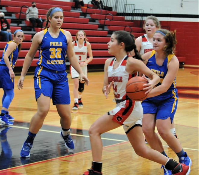 Crooksville's Lelila Kennedy drives towards the basket in a game from earlier this season against Philo. The Crooksville girls squad was one of several area teams recently quarantined due to COVID-19 protocols.
