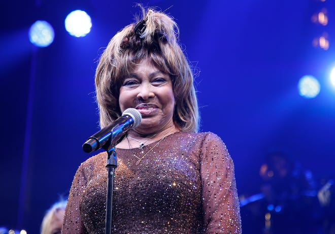 """Tina Turner speaks during the """"Tina - The Tina Turner Musical"""" opening night at Lunt-Fontanne Theatre on Nov. 07, 2019, in New York City."""
