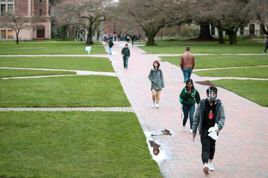 Students at the University of Washington in Seattle saw in-person classes stop on March 6, 2020 in Seattle. The university closed on March 9.