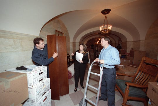 Presidential belongings are moved into the White House on Bill Clinton's Inauguration Day on Jan. 20, 1993.