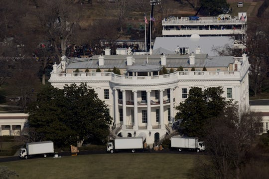 President-elect Barack Obama's belongings are moved into the White House as he is at the Capitol to be sworn in as the 44th president of the United States on Jan. 20, 2009.