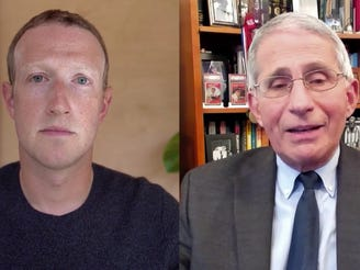 Facebook CEO Mark Zuckerberg and Dr. Anthony Fauci, the director of the National Institute of Allergy and Infectious Diseases, during a Nov. 30 online chat on Facebook.