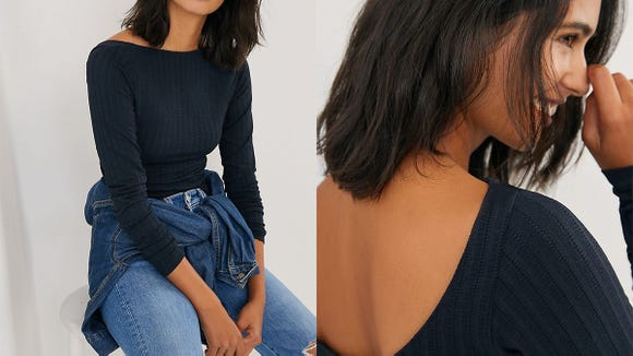 This scoop-back top has high marks from Anthro shoppers.