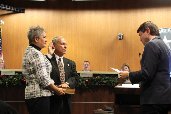 Frank Ortega was sworn in on Thursday night to the Place 4 seat on the Round Rock City Council by state Rep. James Talarico.