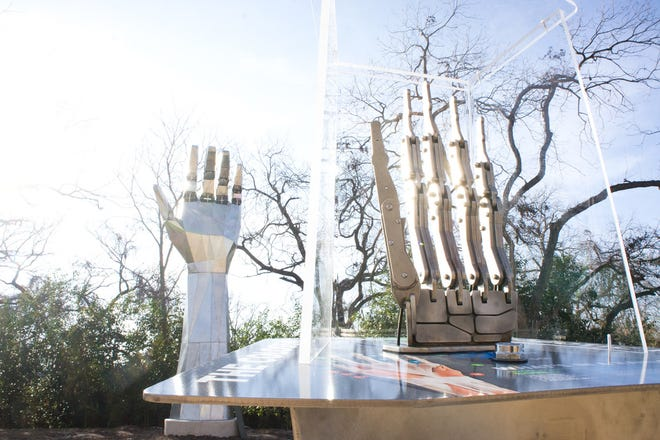 The Science Mill has many outdoor exhibits including the Colossal Robotic Hand exhibit.