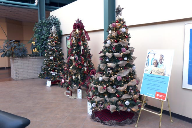 More than 20 Christmas trees were decorated by various businesses and civic organizations to be auctioned off Saturday to raise funds for the Panhandle Community Services organization.  [Neil Starkey / For the Amarillo Globe-News]