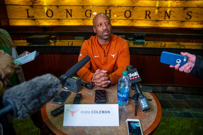 Andre Coleman spent four seasons playing and six seasons coaching at Kansas State. He'll try to beat the Wildcats with Texas' receivers this weekend.