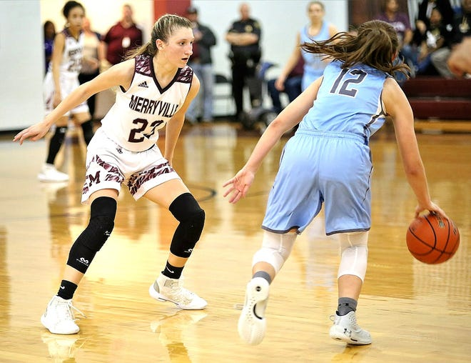 Merryville guard Maddie Mahfouz (leftl locks down on defense during a recent Lady Panther victory. Mahfouz scored 27 points Tuesday night in a win over Kinder.