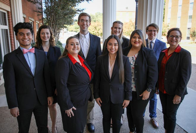 HPU's Student Speaker Bureau successfully competed at recent debate competitions. Pictured from left to right are Alek Mendoza, Lucy Manning, Abigail Poling, Parker Brown, Jewel Schoppe, Rishona Raub, Esmeralda Maldonado, Devin Schurman and Dr. Julie Welker.