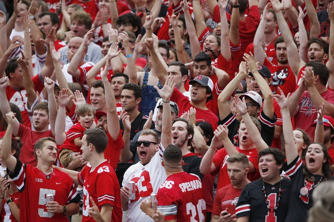 Fans in Ohio Stadium cheer for a Buckeyes touchdown against Florida Atlantic in the 2019 season opener.
