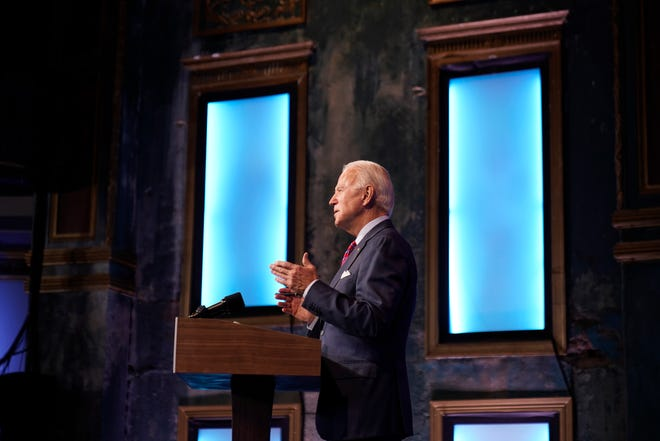 President-elect Joe Biden speaks about jobs Friday at The Queen theater in Wilmington, Del.