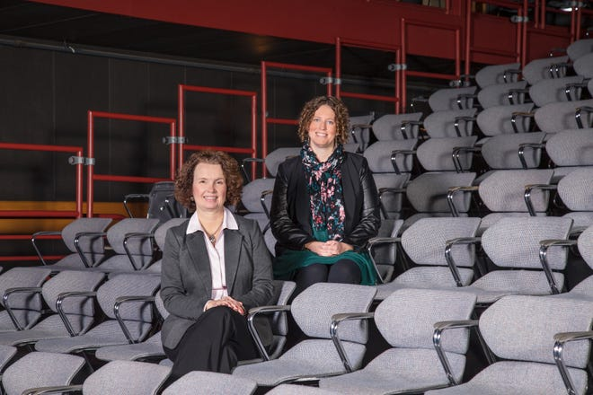 CATCO Executive Director Christy Farnbauch, left, and Artistic Director Leda Hoffmann in the Riffe Center Studio One Theatre.
