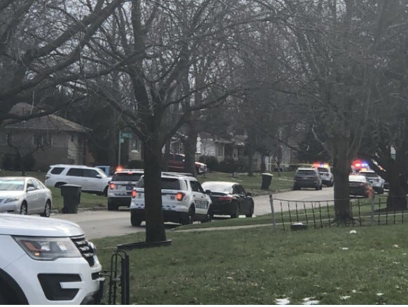 Columbus police cruisers on the scene of a fatal shooting by a Franklin County Sheriff's SWAT deputy early Friday afternoon on Estates Place on the Northeast Side.