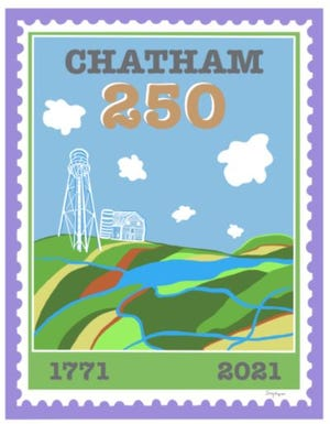 The Chatham 250 logo contest winner is Sally Gregoire, whose design is a postage stamp embodying many great elements of Chatham County.