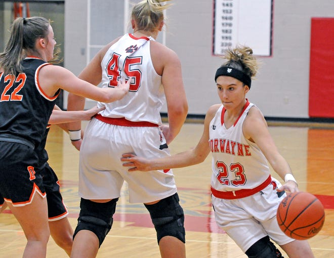 Norwayne's Caitlyn DeMassimo uses teammate Kennedy Kay's screen to drive to the basket in a win over Dalton. DeMassimo had a game-high 17 points.