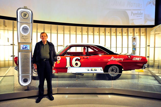 NASCAR Hall of Fame member Bud Moore poses beside his 1966 No. 16 Mercury Comet, during the Hall of Honor unveiling at the NASCAR Hall of Fame on May 24, 2011 in Charlotte. (Photo by Jason Smith/ Getty Images for NASCAR)