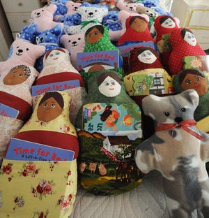 Beverly Bates, 92, of West Bridgewater, on Friday, Dec. 4, 2020, has been sewing dolls to donate to children in area hospitals for years now.