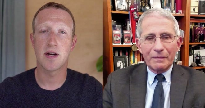 Facebook CEO Mark Zuckerberg and Dr. Anthony Fauci during an online chat on Facebook on Nov. 30