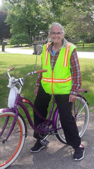June Judd is shown atop her purple bicycle in Danville. Judd, 82, died Wednesday after a traffic accident.
