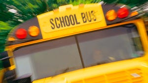 One person was injured after a car struck a school bus early Friday Morning.