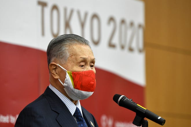 Tokyo 2020 President Yoshiro Mori delivers a speech after an opening plenary session of the three-party meeting on Tokyo 2020 Games additional costs due to the impact of the COVID-19 pandemic in Tokyo on Friday. (Kazuhiro Nogi/Pool Photo via AP)