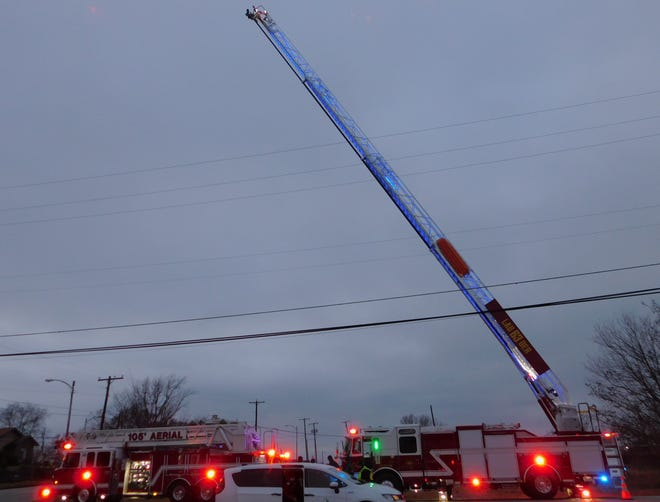 Denison's new ladder truck sits on display during the city's annual Christmas parade Thursday. The city expected to bring the truck into use earlier this year, but setbacks due to the COVID-19 pandemic set back the project until the fall.