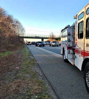Massachusetts State Police and public safety officials responded to the scene of a rollover on Interstate 195 in Somerset, where police said a 67-year-old Fall River man was killed, on Thursday, Dec. 3, 2020.
