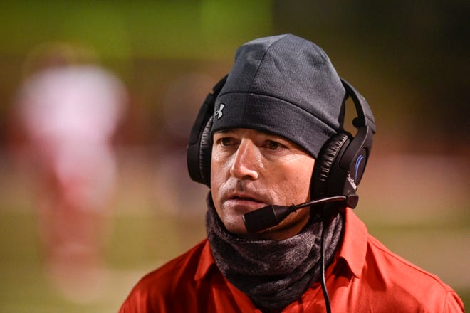 Coronado head coach Seth Parr on the sideline during a District 2-5A Division I game Dec. 3, 2020 against Amarillo Tascosa at Dick Bivins Stadium in Amarillo. Parr, who guided the Mustangs to a 59-26 mark in seven seasons, accepted the head football coach position at Anna High School, just outside of Dallas, announced in a press release from Lubbock ISD on Tuesday morning. [Justin Rex/A-J Media]