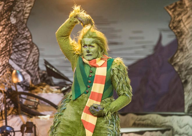 "This image released by NBC shows Matthew Morrison as Grinch in a scene from ""Dr. Suess' The Grinch Musical,"" airing Wednesday, Dec. 9 on NBC."