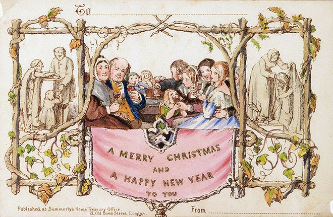 This 2017 photo provided Thursday by Battledore Ltd., of Kingston, N.Y., shows the first commercially produced Christmas card dated December 1843. The card, a hand-colored lithograph designed in England by John Callcott Horsley, is among the rare holiday-themed items being sold online through a consortium run by Marvin Getman, a Boston-based dealer in rare books and manuscripts, through the weekend.