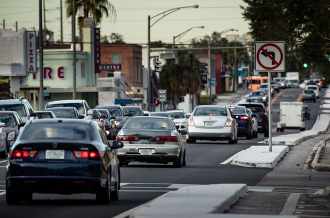 Traffic congestion on the South Florida Avenue during the early months of the road diet through Dixieland in December.