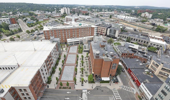 A view from the top of One Chestnut Place looking down at Quincy Center.