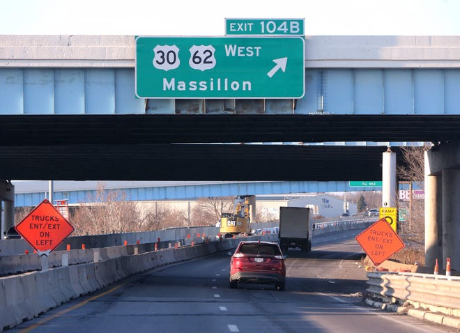 The ramp from Interstate 77 north to U.S. Route 30 west will be closed through late fall 2022.