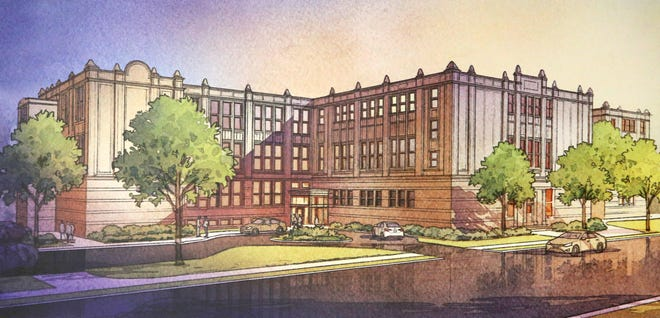 An artist's rendering of renovations planned for the former Lehman High School in Canton.