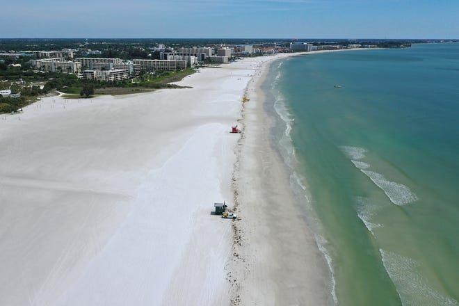 An aerial view of the Siesta Key Beach. Gary Kompathecras wants to build a seven-story, 120-room hotel at Siesta Key's south entry on Old Stickney Point and Peacock Roads. The proposed structure would sit on a little over one acre.