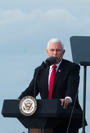 """Vice President Mike Pence talks to the crowd at the """"Save the Majority"""" Rally in Savannah on Friday. [Will Peebles/Savannahnow.com]"""