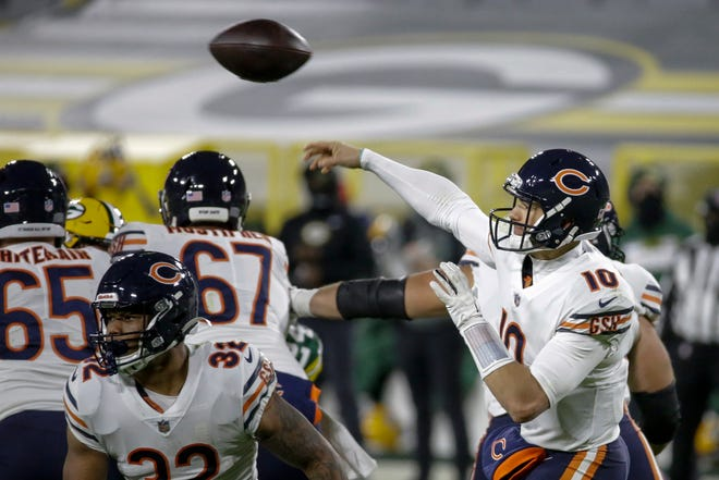 Chicago Bears' Mitchell Trubisky throws Sunday, Nov. 29, 2020, in Green Bay, Wis.