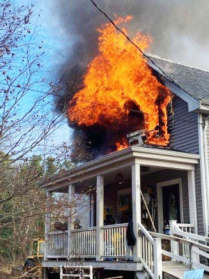 A house fire on Bedford Street in Lakeville Friday morning required mutual aid from four towns, with Lakeville Fire Dept. first on the scene. Five of the nine residents of the home at 276 Bedford Street were home at the time of the fire, but no injuries were reported.