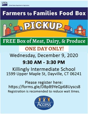 Access will distribute food from 9:30 a.m. to 3:30 p.m. Dec. 9 at Killingly Intermediate School, 1599 Upper Maple St., Dayville.