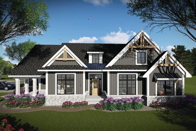 Mixed siding and a stylish dormer add classic Craftsman curb appeal to this design.