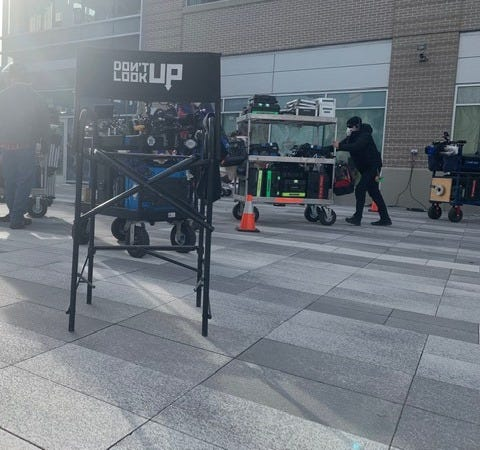 In Worcester, crews shooting  Don t Look up,  Netflix movie with Leonardo DiCaprio, Jennifer Lawrence