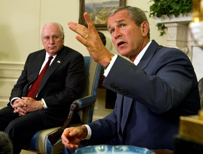 President George W. Bush, right, with Vice President Dick Cheney at his side, speaks during a meeting with congressional leaders in the White House Oval Office on Sept. 18, 2002. A new CNN Films documentary explores the role of the U.S. vice presidency, which in modern times has emerged into a more powerful position.