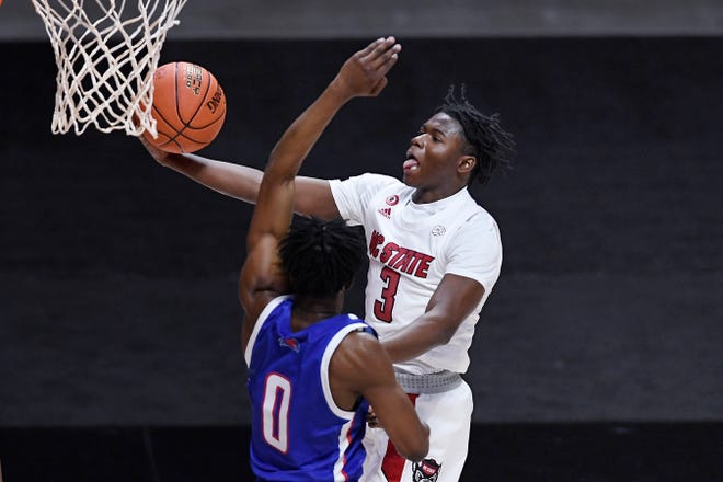 N.C. State freshman Cam Hayes (3)  has averaged 11.3 points per game for the Wolfpack this season. Through thre games, Hayes has a team-high 16 assists with just two turnovers.