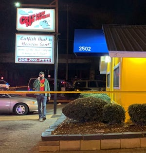 Tuscaloosa Police officers investigate a shooting at Catfish Heaven at 2502 21st Street that injured one person Thursday evening, Dec. 3, 2020.  [Photo Courtesy Tuscaloosa Police Department]