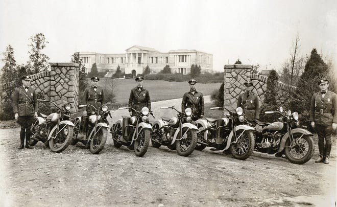Six motorcycle patrolmen from central Ohio pose with their Harley-Davidson service bikes. Five are from the Franklin County Sheriff's Office, and one is a Grandview Heights patrolman. Pictured second from right is Robert Livingston of the Grandview Heights Police Department.