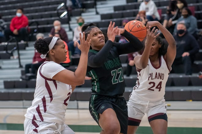 Waxahachie senior Mya Williams (22) has a shot blocked during last Saturday's home game against Plano. The Lady Indians took 6A No. 25-ranked Mesquite Horn down to the wire in a 64-60 loss on Tuesday night.