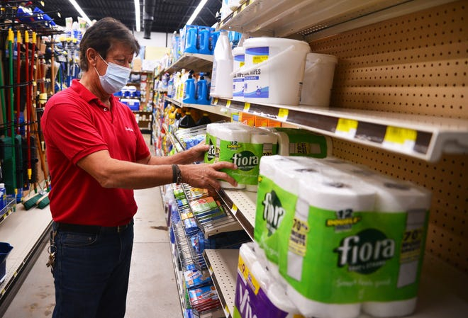 Bill Albaugh, manager of True Value Hardware on Wickham Road in Melbourne has seen an increase in customers purchasing disinfectants and bathroom tissue. When he can't get the big brand names like Lysol he stocks alternatives like 409, Pine Sol and Krud -Cutter among others.