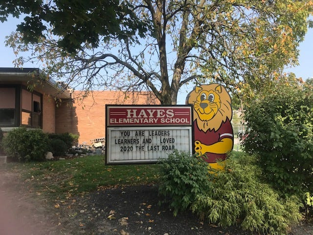 The city has reached out to Fremont City Schools to see if it would be interested in rezoning the Hayes Elementary School site, seen here in September, to allow for future development on the property.