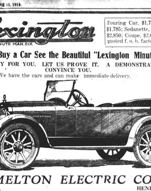 Raffle tickets for a Lexington touring car almost identical to the one in this advertisement, which ran in The Gleaner June 15, 1919, were being sold by members of the local Moose lodge in late 1920, but the man responsible for collecting the money absconded with both the car and the money that had been collected so far. The club instead  bought a Nash and offered it as the prize.