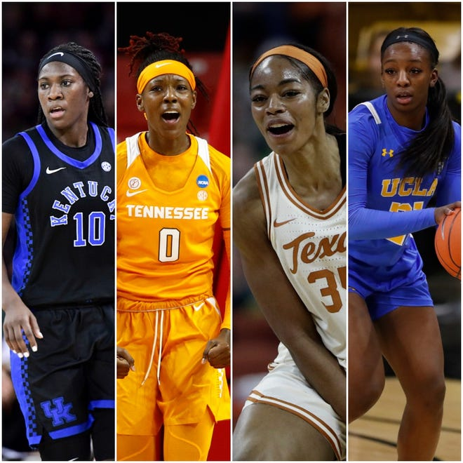 Rhyne Howard (left), Rennia Davis (second from left), Charli Collier (second from right) and Michaela Onyenwere (right) are all intriguing 2021 WNBA Draft prospects.